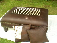 Zebra skin & leather ottoman with cushions