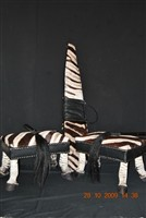 Zebra gunbag and ottomans